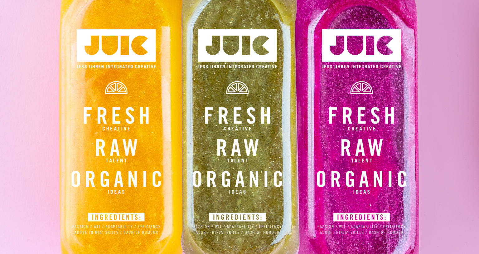 Colourful healthy smoothies and juices in bottles on color backg
